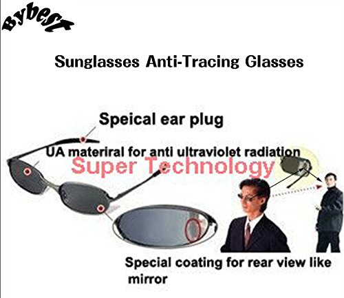 Polarized Mirror View Rear (Sunglasses Anti-Tracing Glasses Outdoor Real Mirror Spy Camera View Review Anti-Tracing Sunglasses Behind Looks Like an Ordinary Sunglasses Protect Eyes from UV Damage)