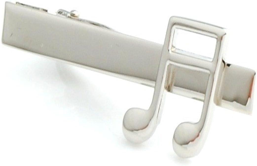 Thin Black Treble Music Note Design Square Tie Clips