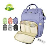 Wide Open Designer Baby Diaper Backpack By Tincon-z –Multi-Function Waterproof Tote Bag Stroller Straps, Travel Bag, Changing Pad & Insulated Pocket For Mom & Dad (Blue-purple)