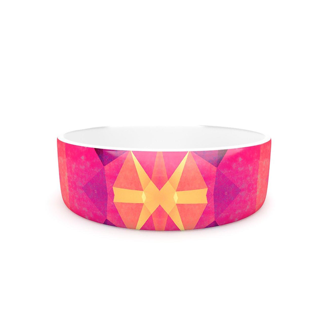 Kess InHouse Nika Martinez Retro Pink Geometrie  Pet Bowl, 7-Inch, Pink Yellow
