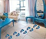 5 Pairs Cartoon Footprints Wall Stickers Peel and Stick Wall Decal for Kids Nursery Kindergarten Guide Use at Home Or School (Blue)