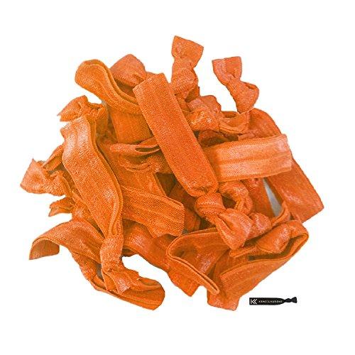 Hair Ties 20 Elastics Ponytail Holder Set No Crease Ribbon Bands (Orange)