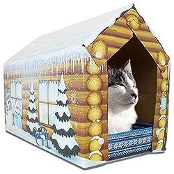 ASPCA Cat House & Scratcher w/Bonus Catnip Included