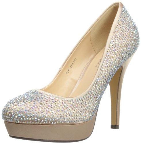 Lunar FLR210 - zapatos de vestir de satén mujer marrón - beige
