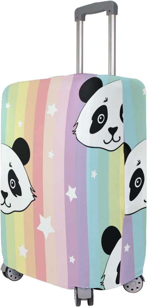 FOLPPLY Colorful Stripes Panda Luggage Cover Baggage Suitcase Travel Protector Fit for 18-32 Inch