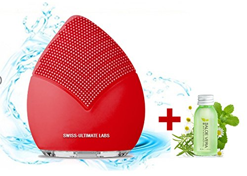 Swiss-Ultimate Labs Sonic Leaf 3-in-1 Facial Cleansing Brush for Healthy Skin, Exfoliator, Invigorating Massage, Blackheads, Microdermabrasion w/Bonus Herbal Face Wash Sample (Red)