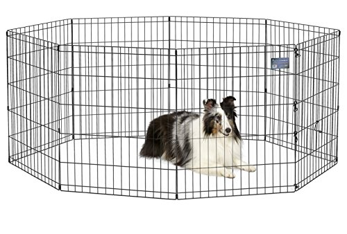 MidWest Foldable Metal Exercise Pen / Pet Playpen, 24″W x 30″H