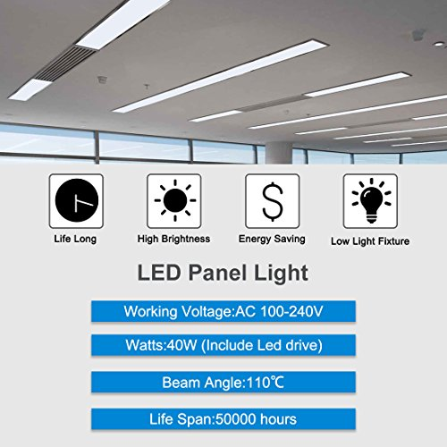 uxcell LED Panel 1x4 ft Dimmable Edge-Lit Flat 40w Square Ceiling Panel Down Lights,5000k -2 Packs, UL Listed, DLC-Qualified by uxcell (Image #4)