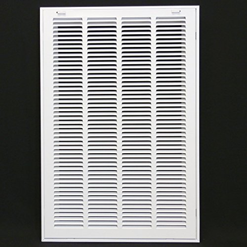 16'' X 25 Steel Return Air Filter Grille for 1'' Filter - Removable Face/Door - HVAC DUCT COVER - Flat Stamped Face - White [Outer Dimensions: 18.5''w X 27.5''h] by HVAC Premium
