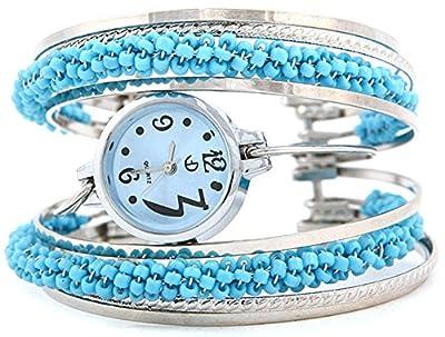 COCOTINA Fashion Women Girls Blue Dial Blue Beads Bangle Bracelet Quartz Wrist Watch