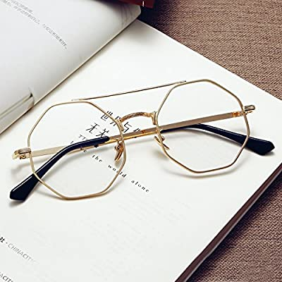Sunyan polygone métal lentille optique télévision coréenne marée hommes personnalité lunettes fort girl lunettes élégant châssis à la myopie.
