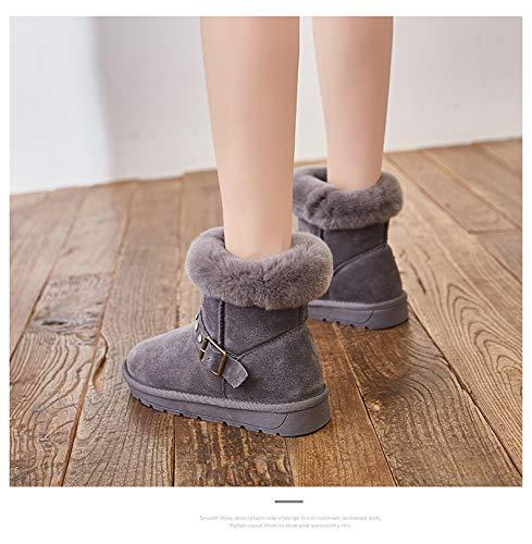 neve Stivali donna di velluto autunno C all'aperto da grigio con scarpe fibbie attività inverno da ecc n wt5xW5CnqH