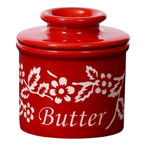 The Original Butter Bell crock by L. Tremain, Fleur de Provence Collection - Garnet Red