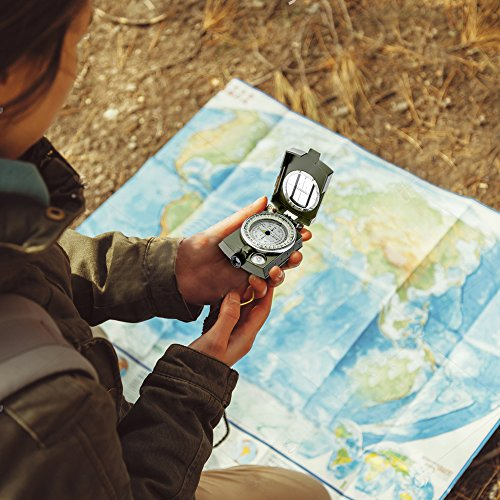 Banne Compass, Waterproof Military Compass,Camping Compass Fluorescent Pointer Compass(Army Green)