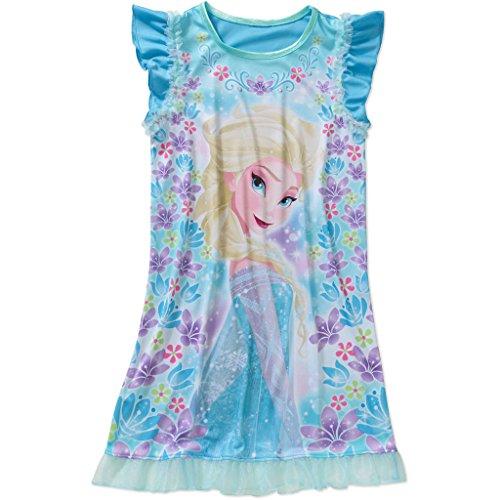 Disney Frozen Girls' Ruffle Sleeve Sleep Gown, Blue (Disney Frozen Gowns)