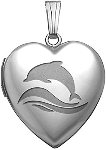 Sterling Silver Womens 1mm Box Chain Four Dolphins Heart Shaped Pendant Necklace