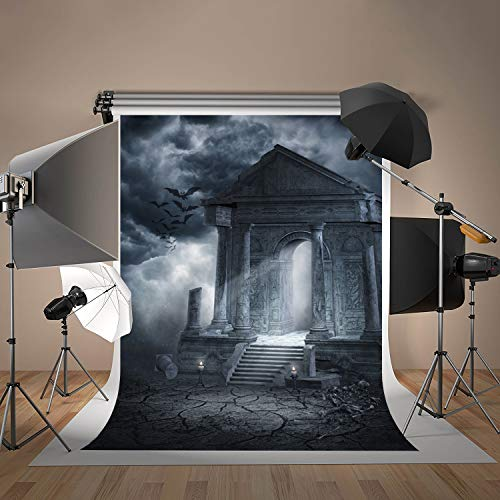 Damier 6x9ft Halloween Photo Backdrop Cemetery Theme Vinyl Photography Pictures Background for Kids Party Decoration]()