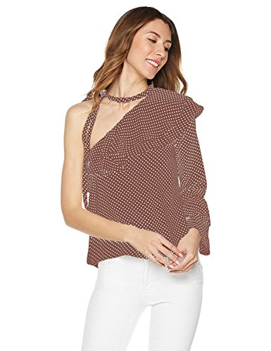 Plumberry Women's One Shoulder One Sleeve 2 Layers Ruffle With Tie Top Blouse Large Camel With Dots (Ruffle Dot Blouse)
