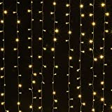 AGPTEK Solar Powered Curtain Icicle Lights, 3M X 3M 8 Modes Fairy String Lights for Christmas Wedding Home Garden Outdoor Window (300 LED) - Yellow