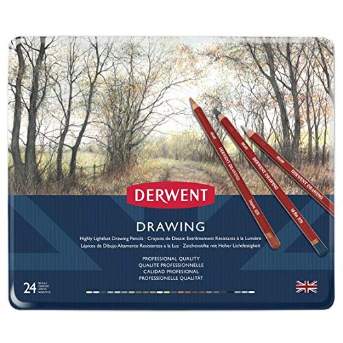 Derwent Colored Drawing Pencils, Metal Tin, 24 Count (0700672) ()