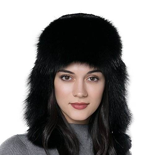 URSFUR Winter Fur Bomber Hat Rex Rabbit Fur Russian Cap with Fox Fur Trim