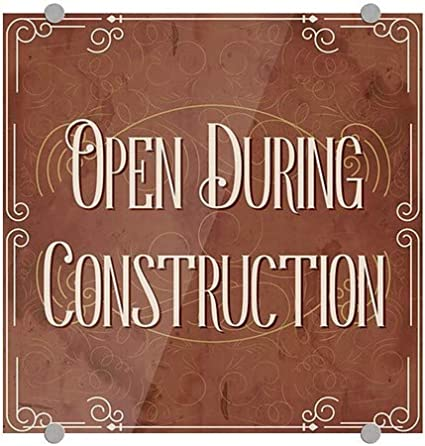 5-Pack CGSignLab Open During Construction Victorian Card Premium Brushed Aluminum Sign 16x16