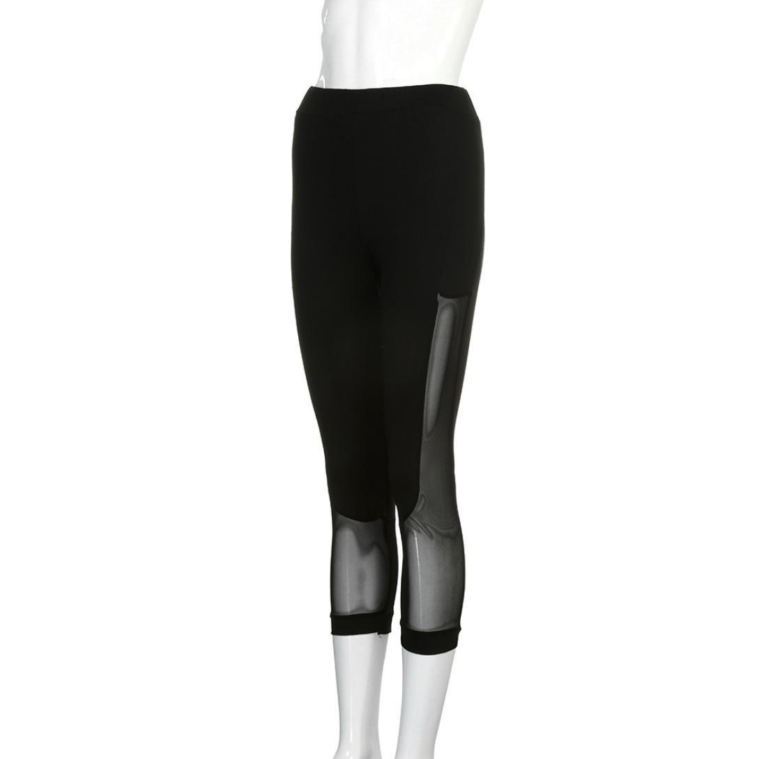 Leggings deporte mujer push up,Mujer Skinny Fitness Leggings Pantalones deportiva ni/ña leggins cintura alta Patchwork Leggings de malla de yoga Pantalones