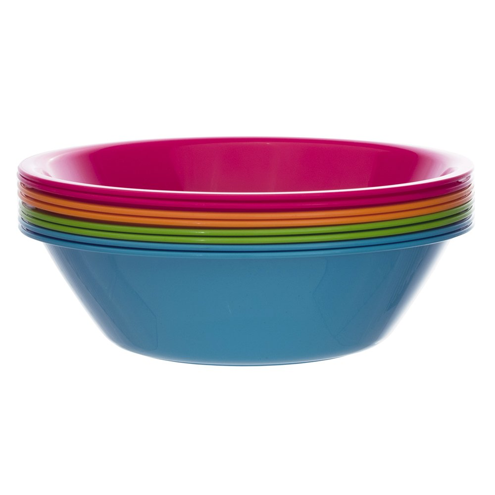 set of 8 in 4 Assorted Colors US Acrylic 0339 Metro 28-ounce Plastic Bowls for Cereal or Salad