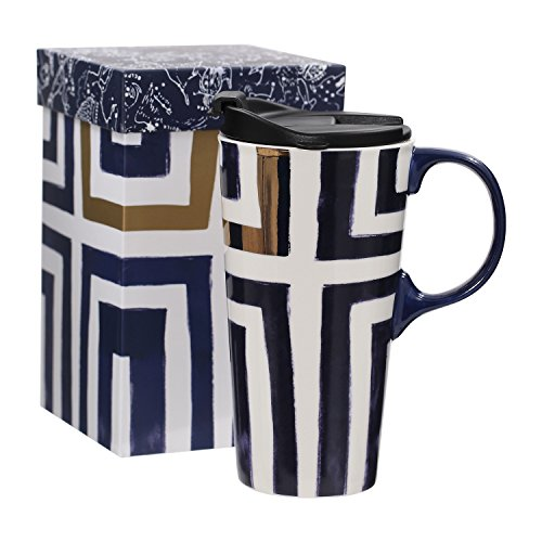 Ivy Home Ceramic Travel Mug Coffee Cup 17 ()