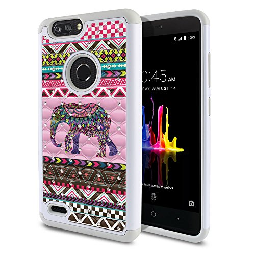 ZTE Blade Z Max Z982/ Sequoia Case, Fincibo (TM) Dual Layer Shock Proof Hybrid Hard Protector Cover Anti-Drop Silicone Star Studded Rhinestone Bling, Aztec Elephant