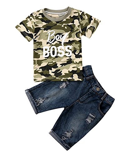 Viworld Toddler Baby Girl Boy Summer Clothes Short Sleeve Camo T-Shirt Top +Denim Cropped Pants Shorts Outfits Set (boy boss, 1-2 (Cropped T-shirt Shorts)