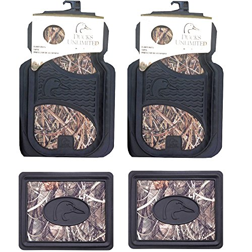 Ducks Unlimited Camo Max-4 Car Truck SUV Front & Rear Seat Heavy Duty Trim-to-Fit Rubber Floor Mats - 4PC (Ducks Unlimited Camouflage Camo)