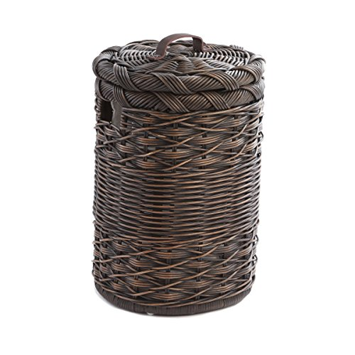 The Basket Lady Small Round Wicker Hamper, One Size, Antique Walnut Brown (Laundry Basket Rattan)