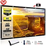 100 Inch Projector Screen - Ylife 100 Inch Projector Screen, 16:9 HD 4K No Crease Portable Video Movie Screen Grommets for Outdoor Indoor Home Theater