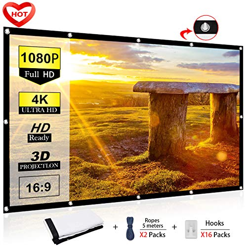 (Ylife 100 Inch Projector Screen, 16:9 HD 4K No Crease Portable Video Movie Screen Grommets for Outdoor Indoor Home Theater)