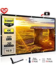 Ylife Projector Screen, 16:9 HD 4K No Crease Portable Video Movie Screen Grommets for Home Theater Outdoor