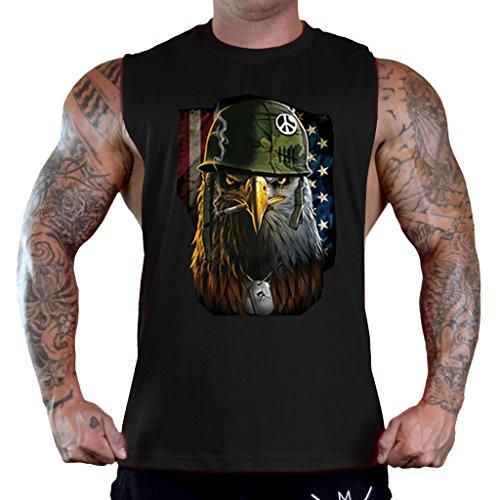 (Military Eagle USA Flag Men's Black Sleeveless T-Shirt Tank Top 2X-Large Black)