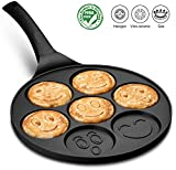 induction cooktop accessories - Gourmia GPA9540 Smiley Face Pancake Pan – Fun 7 Emoji Mini Pancake and Flapjack Maker – Die Cast Aluminum, Double Layer Nonstick Coating – Cool-to-Touch Handle