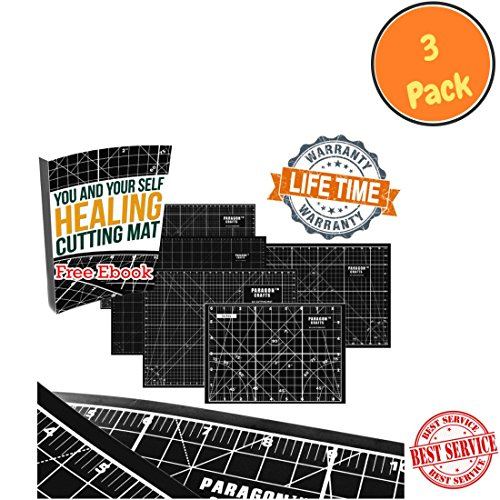 "Premium Double Sided Self Healing Rotary Cutting Board With Grids & Angle Indications For Maximum Precision – Perfect For Sewing, Scrapbooking, Quilting & DIY Projects – 17"" x 11"" – Black (3 Pack) by Paragon Crafts"
