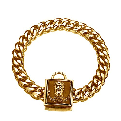 W/W Lifetime Personalized Dog Collars Harnesses, Ultra Strong Stainless Steel Cuban Link Miami Chain 18K Gold Plated American Trump Buckle Dog Training Collar, for Large Dog