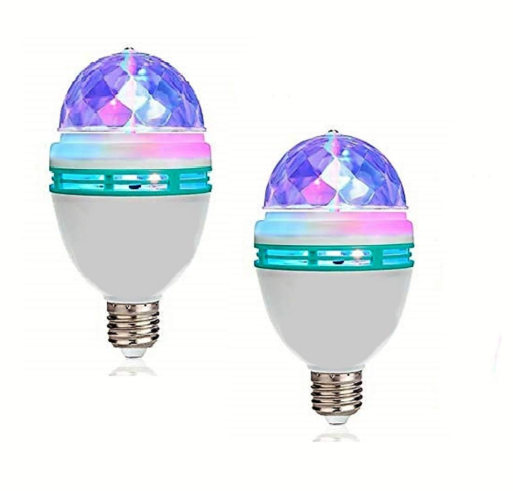 Lightahead LA005 Rotating LED Strobe Bulb RGB Multi Changing Color Crystal Stage Light (Set of 2)