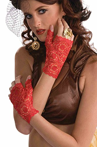Red Cropped Satin Gloves (Lace Fingerless Gloves Costume Accessory (Red))