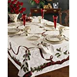 "Lenox Holiday Nouveau Christmas Tablecloth ~ 60 x 84"" Oblong Rectangular"