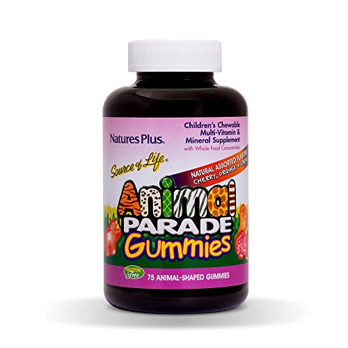Natures Plus Animal Parade Source of Life Gummies - Natural Orange, Grape and Cherry Flavors - 75 Animal Shaped Gummies - Whole Food Kid's Multivitamin - Gluten Free - 37 Servings ()