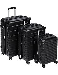 AmazonBasics Hardside Spinner Luggage - 3 Piece Set (20, 24, 28), Black