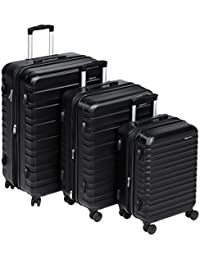 "AmazonBasics Hardside Spinner Luggage - 3 Piece Set (20"", 24"", 28""), Negro"