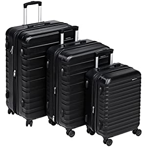 AmazonBasics 3 Piece Hardside Spinner Travel Suitcase Set