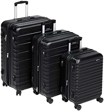 """AmazonBasics Hardside Trolley Luggage - 3 Piece Set (20"""", 24"""", 28""""), Black"""