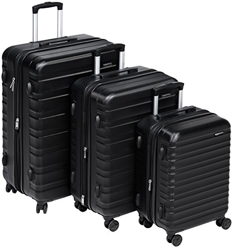 (AmazonBasics 3 Piece Hardside Spinner Travel Luggage Suitcase Set - Black)