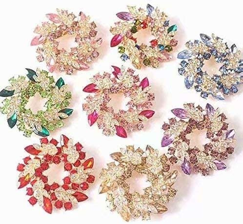Gaocheng Plaque Or Noble Strass Cristal Multicouleur Bouquet de Fleurs Dames Broche